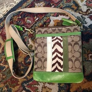 coach purse with lime green and zebra